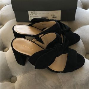 NWT - Ann Taylor Black Suede Block Heels 7.5